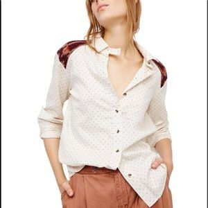 •Free People• NWT knit detailed button up